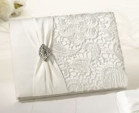 Cream Vintage Lace Wedding Guest Book